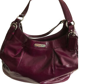 Coach Maggie Madison Plum Purple Patent Leather Hobo Shoulderbag f19708