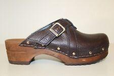 Sanita Womens Wood Sole Mule Clog Sz 6.5 / 37 Studded Brown Leather Buckle Shoe