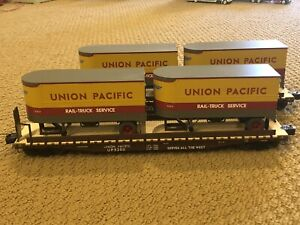Lionel Union Pacific Ps-4 Flatcar with Pigggback Trailers 2 Pack #53010
