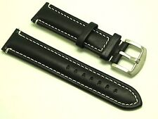 22mm Black Leather White Stitched Watch Replacement Band For Samsung Gear 2 Neo