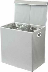 Double Laundry Hamper with Lid and Removable Laundry Bags Grey Polypropylene New