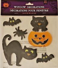 Halloween Gel Window Cling Stickers 15 Count ~ Pumpkin, Cat, Bat & Spiders w