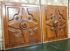 Round victorian wood carving panel Antique french architectural salvage reclaim