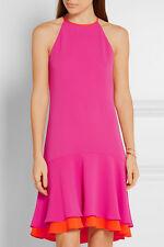 Diane Von Furstenberg Kera Combo Vivid Pink -Orange Dress Dvf 6- S