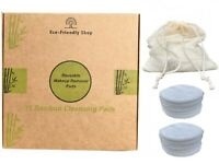 Reusable Make up Remover Pads 16 Face Facial Washable Bamboo Cleansing Wipes