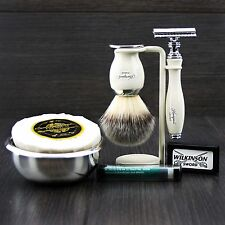 Classic Mens Shaving Gift Set DE Safety & Synthetic Brush Soap Bowl Grooming kit