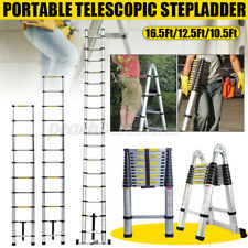 16.5Ft Folding Aluminum Telescopic Extension Ladder Multi-Use Non-Slip 12.5Ft