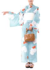 Japanese Women's Traditional YUKATA KIMONO Obi Sandal Set JAPAN FM-09 Large Size