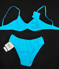 LA PERLA MARVEL Set Bikini Bügel BH 36 38 Türkis Slip gefüttert Blume FM-MAV-38