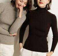 Winter Womens Knitted Turtle Neck Wool Thicken Jumper Pullover Slim Sweater Tops