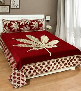 Red Velvet Double Bedsheet with 2 Pillow Covers Set