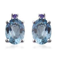 925 Sterling Silver Oval Sky Blue Topaz, Cubic Zircon Purple Earring Cttw 2.8