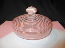 VICTORIAN WEBB ? OPALESCENT THREADED PINK GLASS COVERED DISH DRESSER POWDER BOX