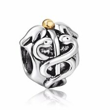Vintage Enamel Snake Women 925 Silver European Bead Charms Fit Sterling Bracelet