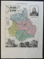 France Carte du département d'Eure et Loir Atlas Migeon/Vuillemin 1880