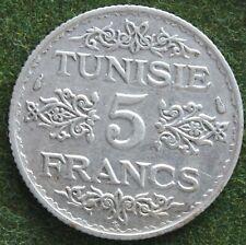 TUNISIE 5 FRANCS 1936 ARGENT