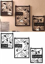 "SCULPTED ""LIVE"" ""LOVE"" ""LAUGH"" CANDLEHOLDER SCONCES WALL DECOR *3 Cups* NIB"