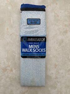 NOS vintage retro mens Ambassador walk socks 6-10 light blue marle
