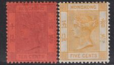 HONG KONG 1882+10c purple/red,5c yellow-mint hinged