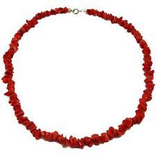 EL Coral Collar Coral Rojo Chips y Cierre Plateado