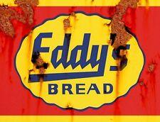 "TIN SIGN ""Eddy's Bread""  Vintage Food  Art Deco Garage Wall Decor"