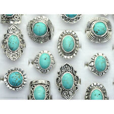 5 x Wholesale Mixed Lots Vintage Gemstone Siler Plated Turquoise Rings Jewelry