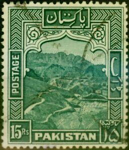Pakistan 1957 15R Blue-Green SG42b P.13 Fine Used