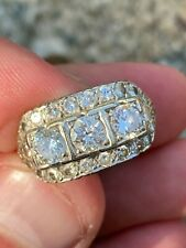 Antique Vintage Art Deco 14k Solid Diamond Cocktail Ring Gorgeous Estate Piece