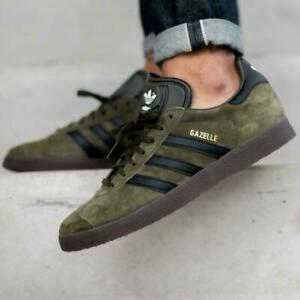 Adidas Gazelle Night Cargo/Core Black-Gum5 Mens Trainers Shoes