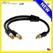 New RCA Y-Adapter 1-Female to 2-Male Audio Cable Splitter For Subwoofer Digital