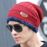 Winter Men's Warm Beanie Hat Velvet Knit Ski Hip-Hop Slouchy Cuff Cap Shan