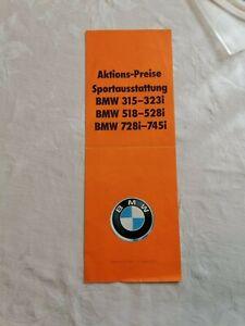 BMW 315-323i, 518-528i, 728i-745i, PROMOTIONAL PRICES, SPORTS EQUIPMENT.