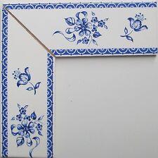 Eckbordüre für Fliesen nach  Delfter Art,  Bordüre blau weiß 10x5 neu!