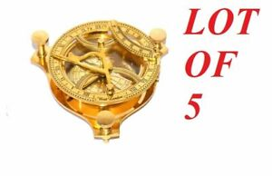 """lot of 5 antique vintage brass sundial 4"""" compass brass finish compass gift item"""