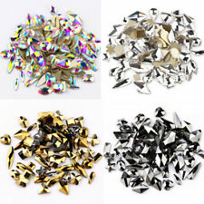 100x Flatback Nail Art Rhinestones Mix Shapes Elongated Glass Stones 3D Decor