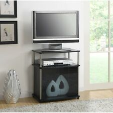 Convenience Concepts Designs2Go TV Stand w/Black Glass Cabinet, Black - 151056