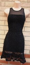 ABBEY CLANCY CUT OUT RIPPED LACE A LINE FISHTAIL BODYCON PARTY SEXY DRESS 10 S