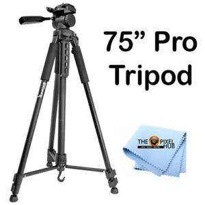 Professional 75-inch Tripod 3-way Panhead Tilt Motion for Most DSLR Cameras