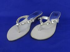 NEW Special Occasions by Saugus Shoe KENDRA 505 Silver Satin Thong w/ Crystal