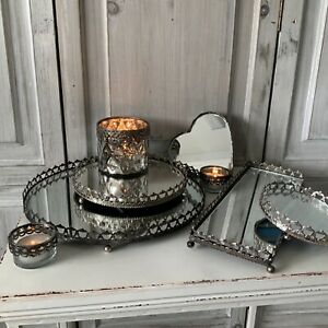 IMPERFECT Mirror Tray Antique Chic Style Candle Plate Metal Heart Rectangle
