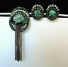 Vintage Swarovski Rhinestones Dragon Breath Art Glass Tassel Brooch Earring Set