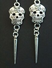 MEXICAN DAY OF THE DEAD SILVER SUGAR SKULL GOTHIC DROP EARRINGS SILVER SPIKE EMO