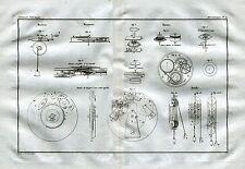 Meccanismi per Orologio.Montre. Carrucola a più palegge. Acquaforte su Rame.1835