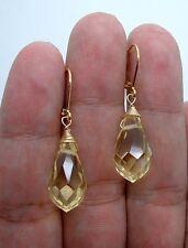 Dangle Faceted Citrine Quartz Gold Earrings -- Leverbacks ! A0818