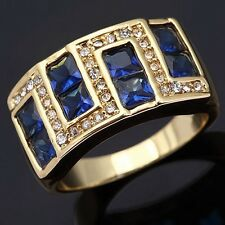 Delicate Size 11 Blue Sapphire 10KT Gold Filled Mens Wedding Engagement Ring