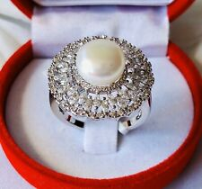 Pearl & Simulated Diamond Silver Tone Brass Ring Size S