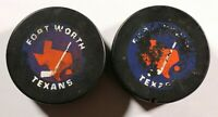 2 Fort Worth Texans CHL Game Pucks Central Hockey League Texas Viceroy Pucks