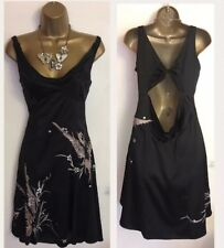 KAREN MILLEN Black Silk Mother Of Bride Wedding Evening Party Dress Uk S 10