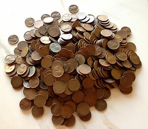 10 Roll Collection: 500 Lincoln Wheat Cent Coins Mixed Mint Marks PDS :1909-1958