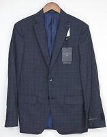 John Varvatos Luxe Mens Suit 38R 31W Navy Blue Gray Plaid Wool Silk Blend Jacket